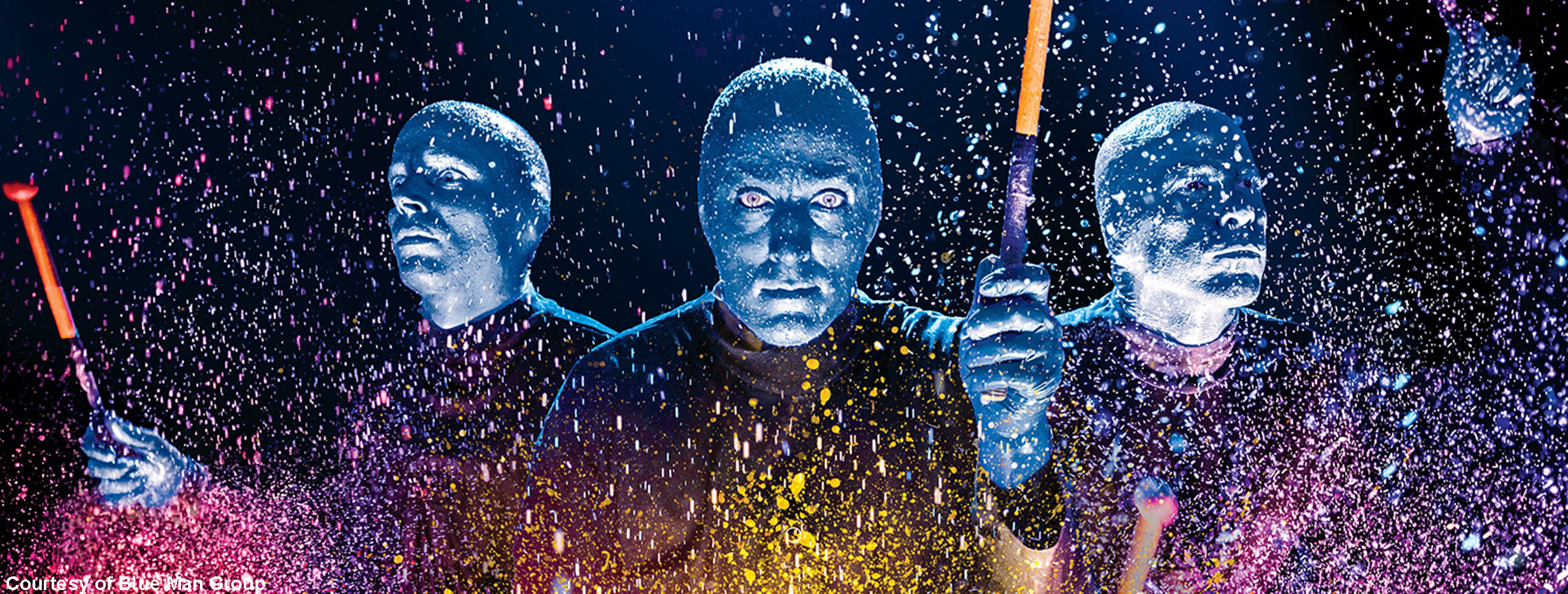 Blue Man Group on Paint Drums, Images Courtesy of Blue Man Group
