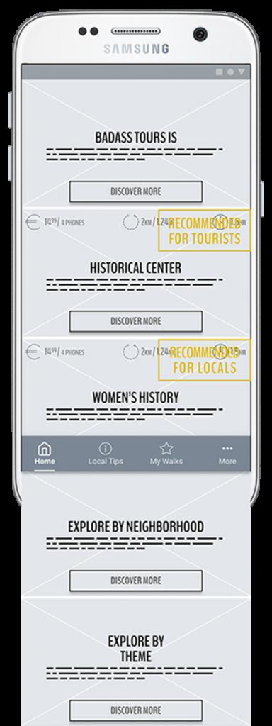 Screenshot of Badass Tours app homepage version 2