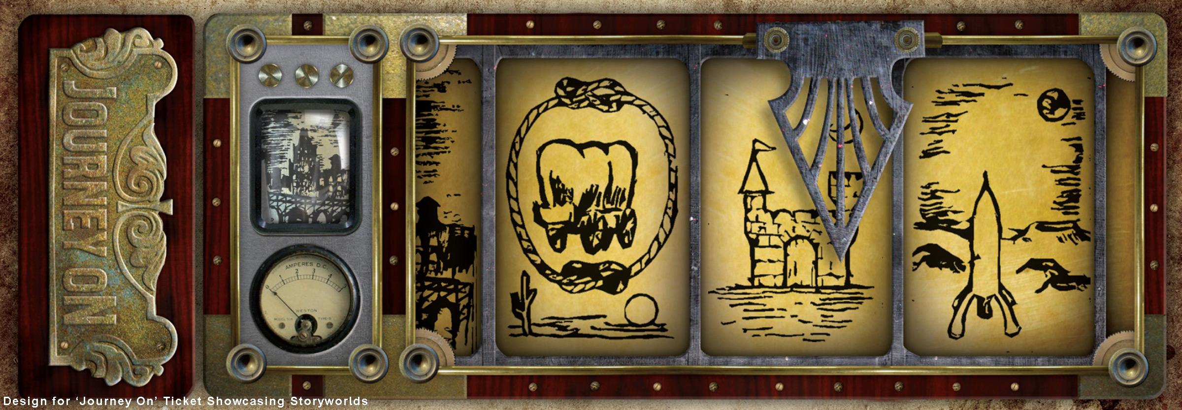 Design for 'Journey On' Ticket Showcasing Storyworlds