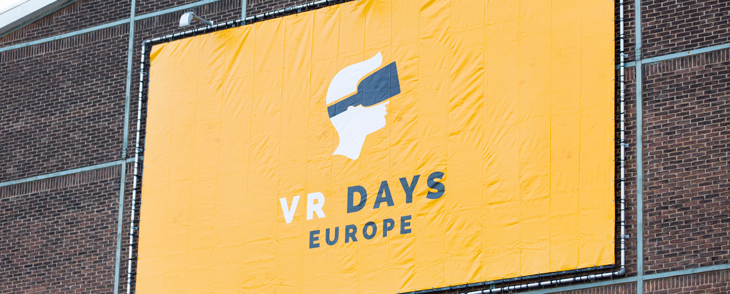 VR Days Europe banner hanging in front of Kromhouthal, Photo by VR Days Europe
