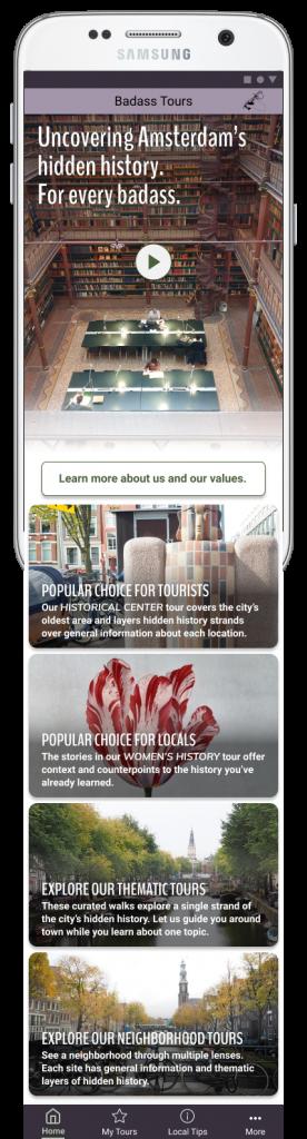 Screenshot of Badass Tours app homepage version 4