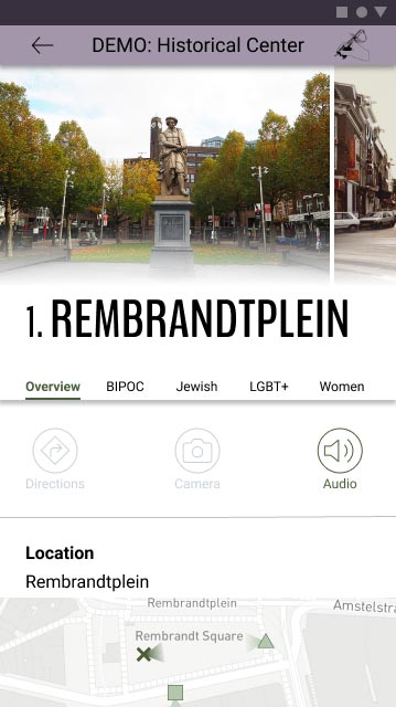 Screenshot of in-tour stop at Rembrandtplein, emphasizing the text and audio option